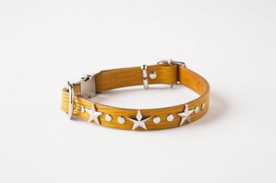 犬の首輪ka004【ワンタッチ首輪】ka004本革ブライトイエロースター小型犬<SS・S>