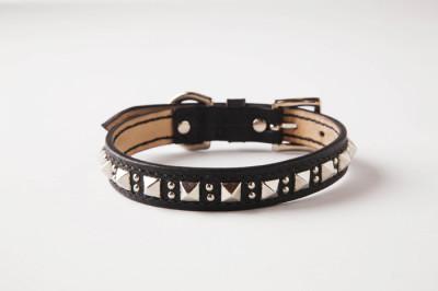 犬の首輪mb001【美錠バックル首輪】mb001本革ブラックスタッズ小型犬~中型犬<MS・M>