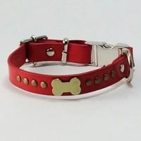 犬の首輪ka009【ワンタッチ首輪】ka009 本革レッドドッグボーン <SS・S・MS>