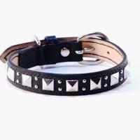 犬の首輪mb021【美錠バックル首輪】mb021本革ブラックスタッズ中型犬<M>