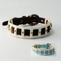 犬の首輪mb027【美錠バックル首輪】mb027本革ツートンホワイト小型犬~中型犬<MS・M>