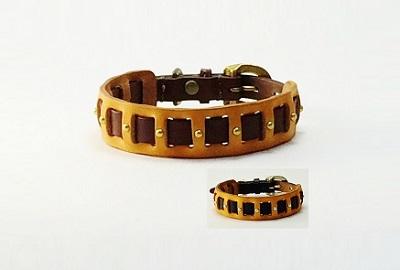 犬の首輪mb033【美錠バックル首輪】mb033本革ツートンキャメル 小型犬~中型犬<MS・M>