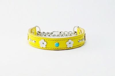 犬の首輪mh018【ハーフチョーク首輪】mh018本革イエローフラワー小型犬(S~MS)セミオーダー