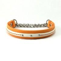 犬の首輪mh022【ハーフチョーク首輪】mh022本革オレンジライン小型犬セミオーダー