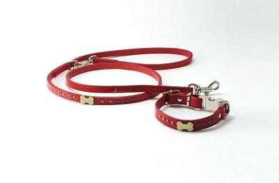 犬の首輪ksr001【首輪&リードセット】ksr001本革レッドドッグボーン小型犬