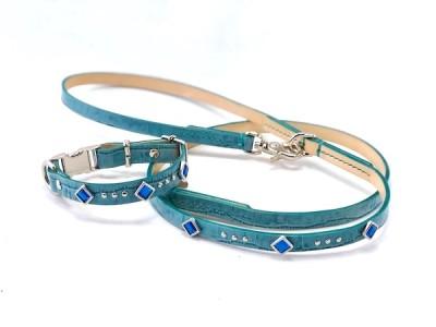犬の首輪ksr003【首輪&リードセット】ksr003本革ブルー角カットストーン小型犬