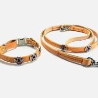 犬の首輪ksr004【首輪&リードセット】ksr004本革オレンジコンチョ小型犬