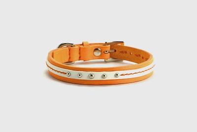 犬の首輪mb037【美錠バックル首輪】mb037 本革オレンジライン小型犬<SS・S・MS>