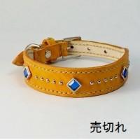 犬の首輪og001【美錠バックル首輪】og001本革オレンジ角カットストーン