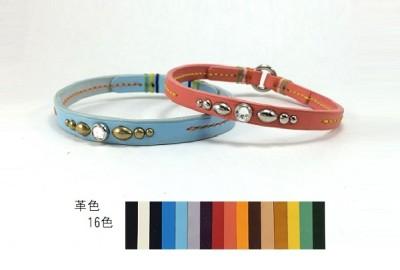 犬の首輪ch002【チョーカー】ch002本革スワロフスキー color 16色 小型犬~大型犬
