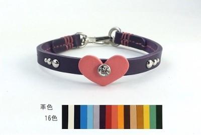 犬の首輪ch003【チョーカー】ch003本革ハートスワロフスキー color 16色 小型犬~大型犬