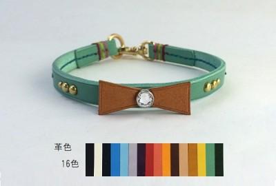 犬の首輪ch004【チョーカー】ch004本革リボンスワロフスキー color 16色 小型犬~大型犬