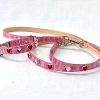犬の首輪ksr005【首輪&リードセット】ksr003本革ピンクハート小型犬